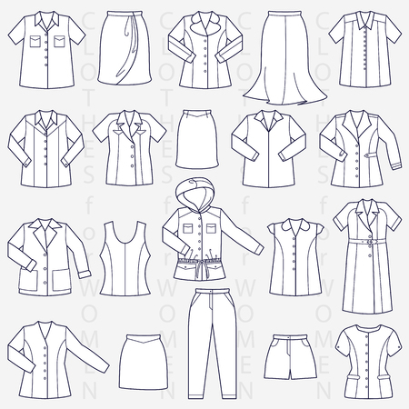 Clothes for women linear vector illustration Illustration