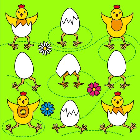Funny Easter chicks and eggs set vector illustration Illustration