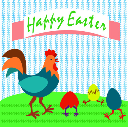Cockerel and eggs Easter card vector illustration