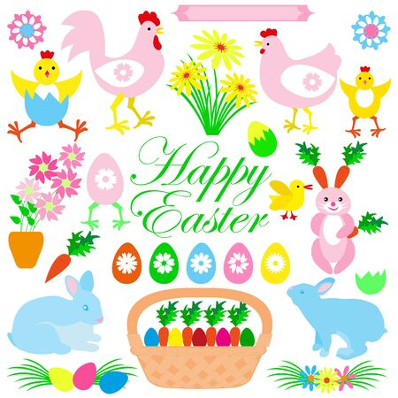 Colorful Happy Easter set of rabbits, bunny, chicks, flowers, cockerel