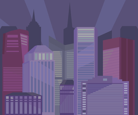 row houses: City buildings at night vector illustration