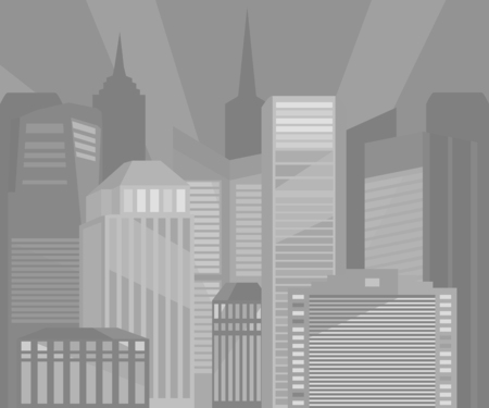 spire: City buildings monochrome vector illustration