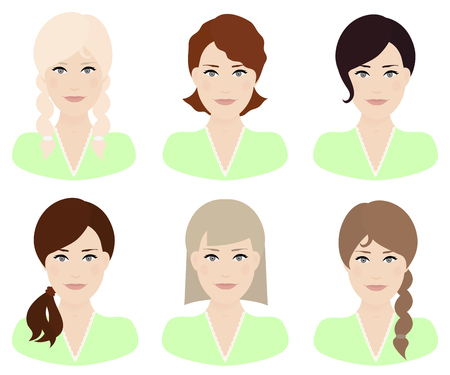 Woman with different hair color and hairstyle vector illustration. Illustration