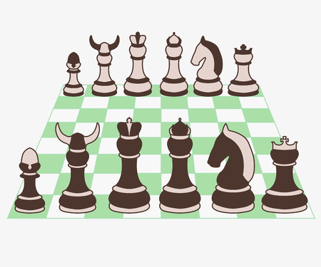Chess set pieces vector illustration