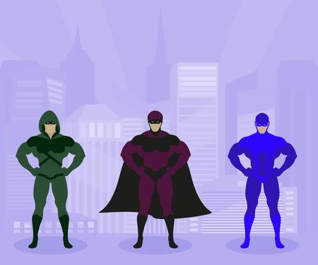 Superhero costumes flat vector illustration