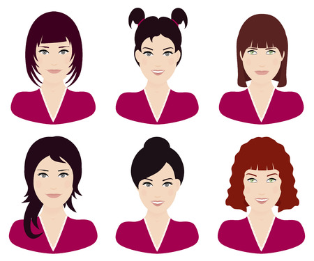 Woman with different hair color and hairstyle vector illustration