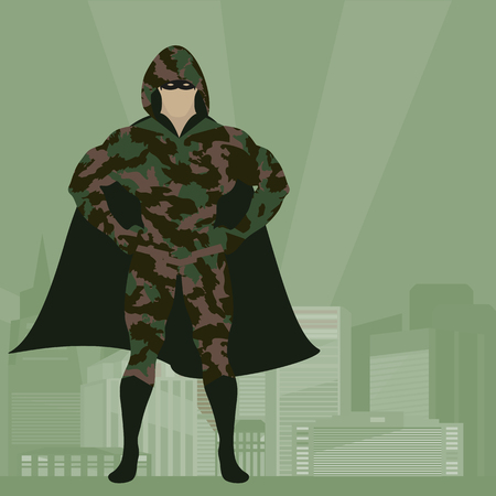 Hero in Camouflage uniform on city background vector illustration