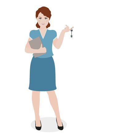 Girl holding a key Illustration