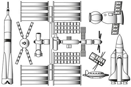 Spaceship e la stazione spaziale illustrazione vettoriale Archivio Fotografico - 72758485