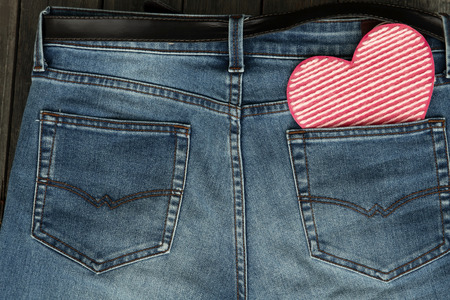 Valentines day background with heart on jeans background