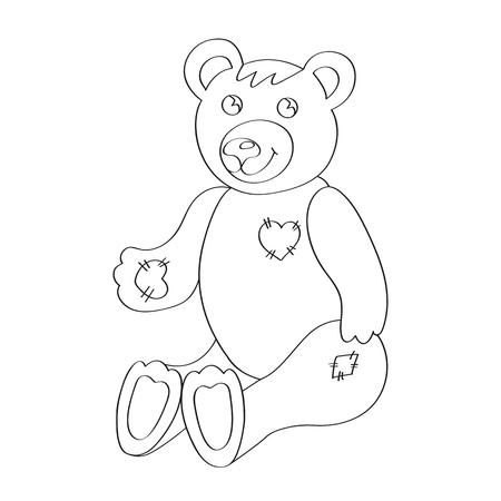 Cute bear for coloring book