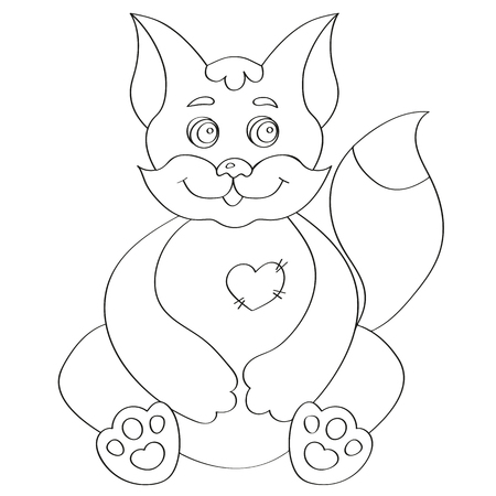 Cute kitten for coloring book Illustration