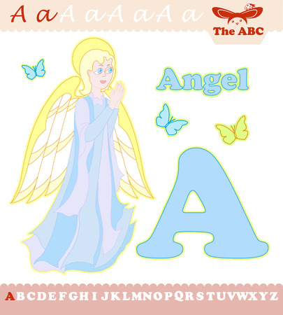 Letter A with angel for ABC Illustration