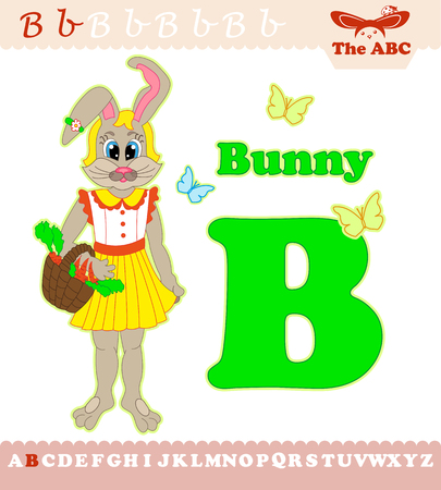 Letter B with bunny for ABC
