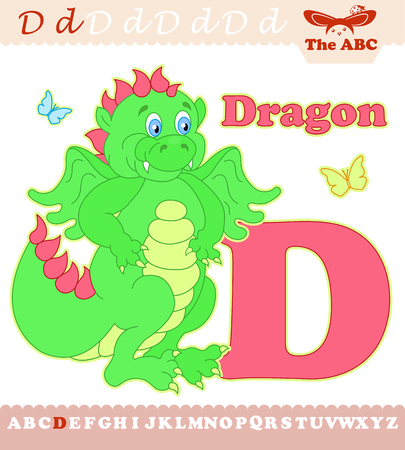 Letter D with dragon for ABC Illustration