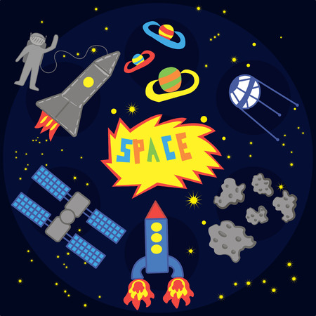 Set of outer space objects