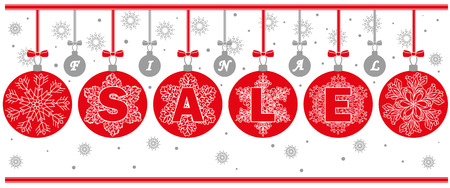 Banner for final sale with red snowflakes balls