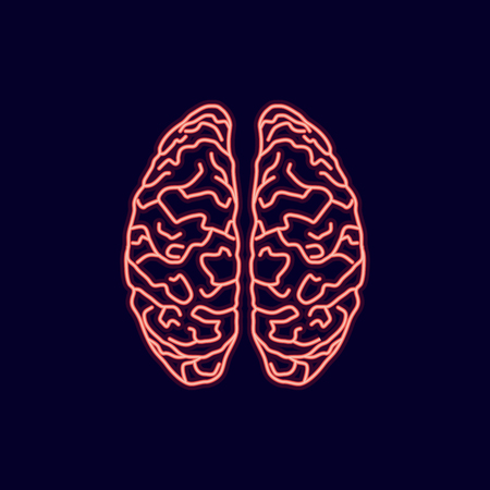 Neon glow brains icon