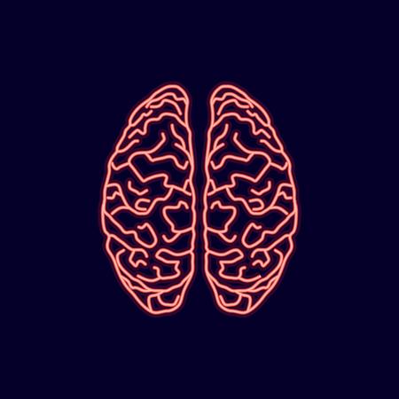 Neon glow brains icon