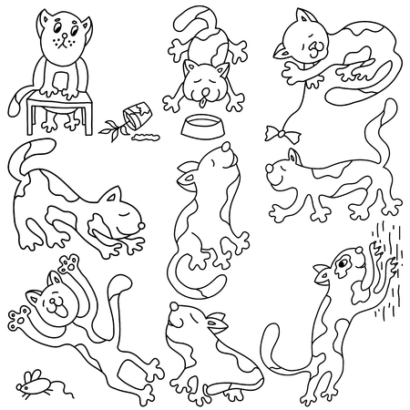 Funny cute doodle pussy cats set