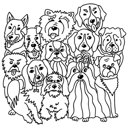 Dogs breed in doodle style