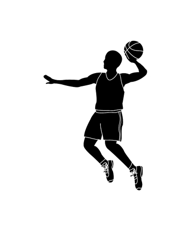 Basketball player throwing ball  vector illustration Illustration