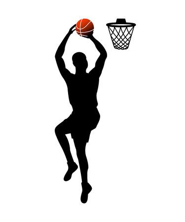 Basketball player throwing ball into basket vector illustration