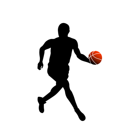 Basketball player running with a ball vector illustration Illustration