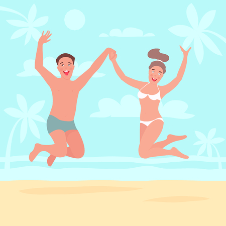 Young couple jumping up high on a beach