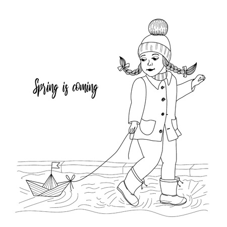 Little girl pulling toy boat with rope while waiking on stream vector illustration