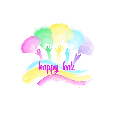 Creative template for Indian festival Happy Holi celebrations with colorful splashes on white background. Beautiful Indian festival Happy Holi.