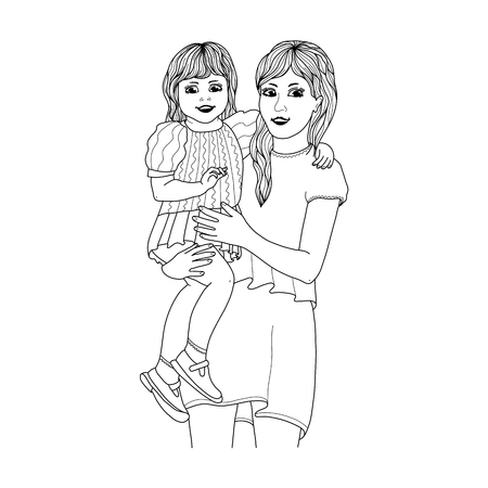Beautiful mother holding her happy daugter in arms vector illustration