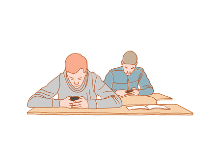 Boys surfing internet Smartphone addiction concept vector Illustration