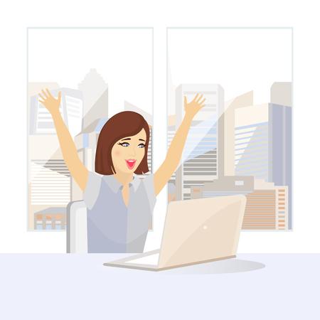 Successful woman winning