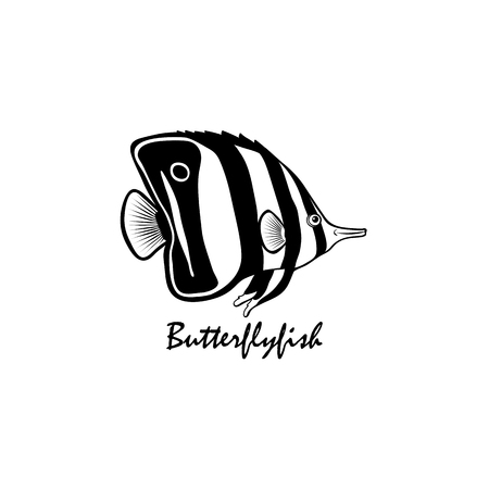 Silhouette of butterflyfish vector illustratin Illustration
