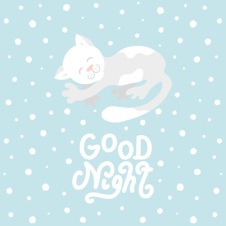 Cute cat with good night white handmade lettering on blue background