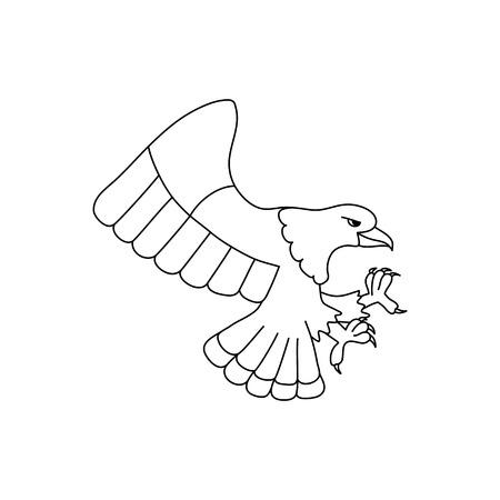 Flying bald eagle symbol for coloring book vector