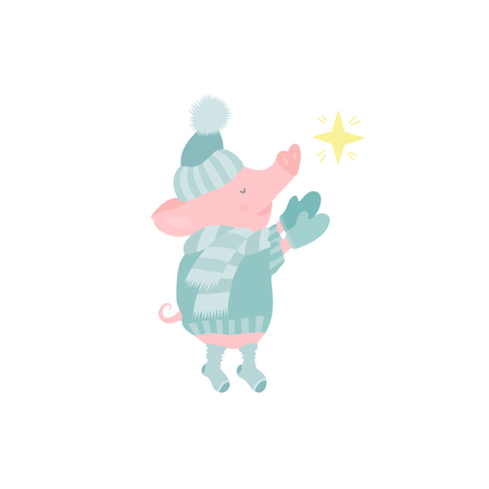Cute pig character dreaming and making a wish card for Chinese New year vector illustration Illustration