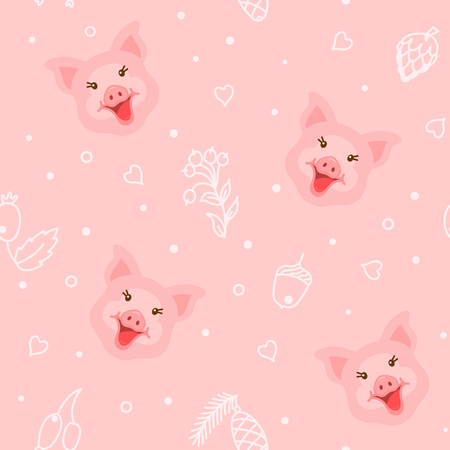 Cute pig character seamless pattern on pink background vector illustration Illustration