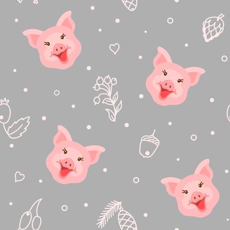 Cute pig seamless pattern background vector illustration Illustration