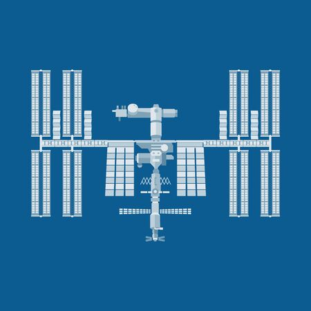 International Space Station icon, ISS symbol Illustration