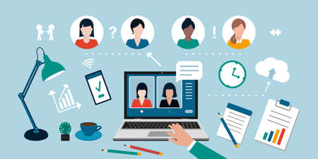Video conference call, distance learning, remote work and business communications concept