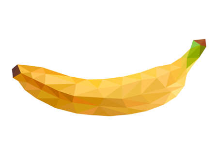 Yellow banana in low poly triangular style