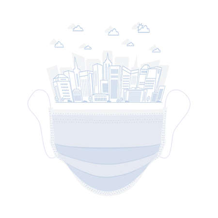 Medical mask to save against Corona virus, safety concept vector illustration Illustration