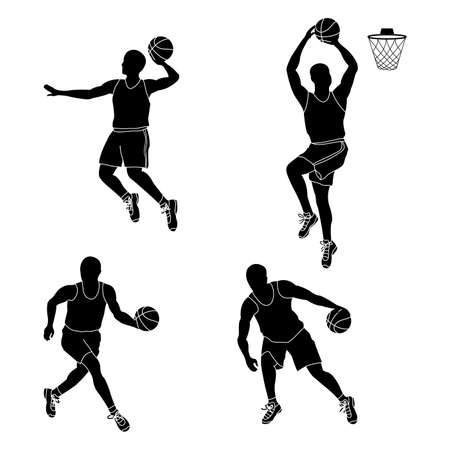 Set of basketball players throwing ball isolated on white background vector illustration Illustration