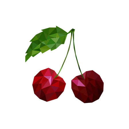 Cherry in low poly triangular style Stock Photo