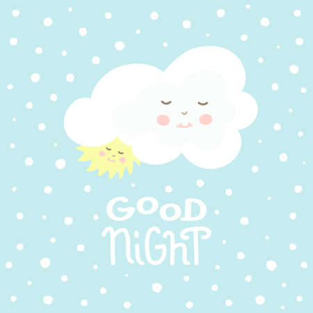 Cute cloud and sun with good night white handmade lettering on blue background Stock Photo