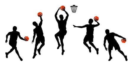 Set of basketball players throwing ball isolated on white background