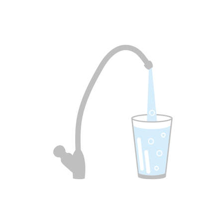 Water tap with glass of clean water vector illustration flat design isolated on white background