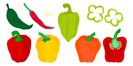 Peppers, paprika, chilies set of red, green, yellow vegetables vector illustration Illustration